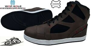 MENS REAL LEATHER CASUAL SNEAKER MOTORBIKE / MOTORCYCLE SHOES SHORT BROWN BOOTS