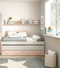 Cama nido 2 cajones y estante color blanco y rosa conjunto dormitorio juvenil