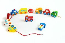 Children's Wooden Transport Vehicle Lacing Blocks Threading Toy Free UK Delivery