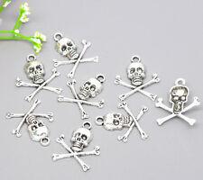 30 Silver Tone Halloween Skull Charms Pendants Jewellery Finding 24x21mm