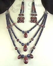 DESIGNER NATURAL RUBY & SAPPHIRE BEAD NECKLACE WITH EARRINGS / RUBIN SAPHIR