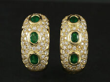 Wertvolle Brillant Smaragd Creolen ca. 2,14ct   13,4g 750/- Gelbgold