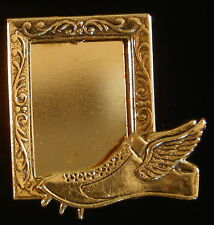 Cross-Country Runner Flying Shoe Photo Frame Pin Brooch 24 Karat Gold Plate