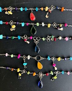 5 Colorful Glass Peruvian Anklet Ankle Bracelets Lot Alpaca Silver As Pictured