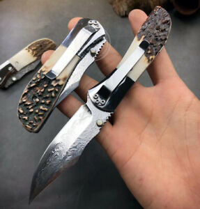 VG10 DAMASCUS STEEL FOLDING KNIFE RESCUE TACTICAL BALL BEARING STAG HORN HANDLE