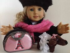 """Carrier Purse & Pet Dog for American Girl Doll 18"""" Accessories SET"""