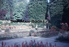 KODACHROME Red Border Slide Beautiful Gardens Flowers Trees Statue Hedges 1950s!