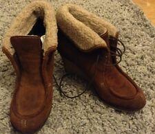 Next U.K 4 gorgeous brown suede fur trim ankle boots wedge heel