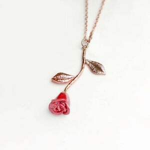 Beauty and the Beast Rose Necklace Red Petal Rose Pendant Charm Mignon Jewelry