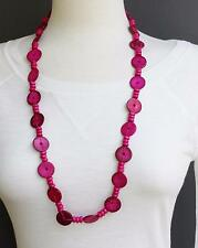 """Pink wood disc chunky bead 30"""" long necklace beaded wooden lightweight"""