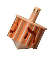 """Collectors Hanukkah Dreidel Stripes in Orange Gray Brown Cut Out Lettering 2"""" T"""