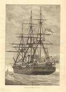 Royal Navy, HMS Shah, Wood Cased Iron Ship Of War, Vintage 1876 Antique Print