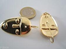 1 paio basi orecchini argento 925 placcato oro scultura modigliani 45x21 mm