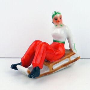 Antique Vintage Porcelain Decorative Winter Figurine Woman Sledding