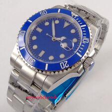 40mm Parnis blue dial steel Datum Herren Automatikuhr Saphirglas Uhr mens watch