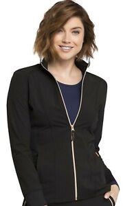 Statement Scrubs #365 Zip Front Designer Fashion Scrub Jacket in Black Size XL