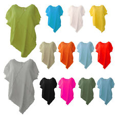 Womens Italian Quirky Panel Frayed Cotton Linen Crop Top Lagenlook Top Plus Size