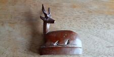 Standing carved wooden Reclining Deer  3.5 inches tall