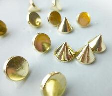100 Gold Rivet Stud Spikes - 10mm - Acrylic - Sew on - Glue on -  Rivets Studs