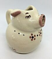 """Antique Shawnee Pottery Classic Pig Creamer 3.5"""" tall hand painted signed 1945"""