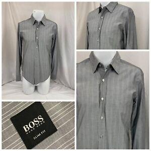 Hugo Boss Slim Fit Shirt M Gray Stripe 100% Cotton Romania Worn Once YGI Q1-565