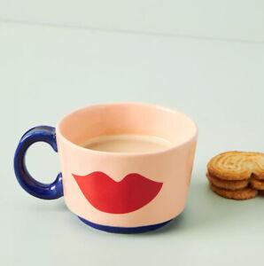 NEW Anthropologie Clare V. Maisonette Coffee Tea Mug Cup - Peach LIPS