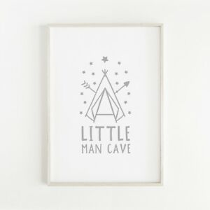 Little Man Cave Grey Nursery Print Baby Boys Scandinavian Room Wall Art Decor
