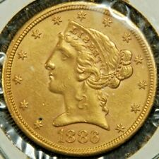 AU 1886-S US $5 Liberty Head Gold Half Eagle Coin - No Reserve