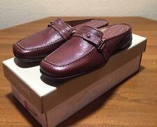 Easy Spirit Leather Brown Slides Clogs Mules 7 M Esalyssa
