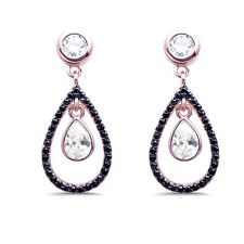 Rose Gold Plated Black & White Cubic Zirconia Dangle Sterling Silver Earrings