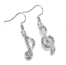 Silver Plated Korean Musical Note Asymmetry Earrings Crystal Earring Jewelry