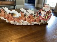 Vintage Christmas Fitz & Floyd Kris Kringle Santa Sleigh Tidbit Or Cracker Dish