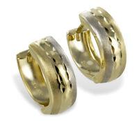 ECHT GOLD *** Kleine Creolen Ohrringe bicolor diamantiert 13 mm