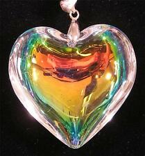 PENDANT/NECKLACE ST Glass Crystal Large FLUID PASTEL RAINBOW HEART