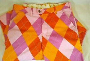 Loudmouth Golf Argyle Diamond Plaid Pants Pink/Orange Size 32