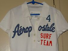 Aeropostale Surf Team Girls Size M White Golf Polo Rugby Short Sleeve Shirt NWT