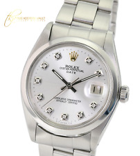Rolex Oyster Perpetual Date Stainless Steel Silver Diamond Dial 34mm Watch