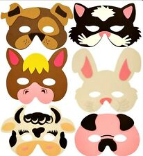 12 FARM ANIMAL PARTY MASKS FoAm kids birthday bag toy filler costume dress up