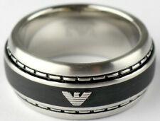 EMPORIO ARMANI Herren Ring EGS1924040510 Silber Schwarz Gr. 190 / 60 Logo