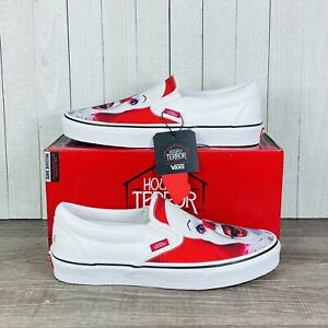 Vans x Horror Classic Slip-On Terror IT Pennywise White Red Men's Size 7-13 RARE
