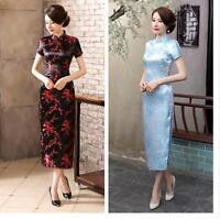 black/red Chinese  women's silk/satin plum blossom Dress/long Cheong-sam  6-16