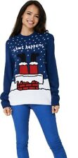 Unisex Navy Blue Christmas Knitted Sweater Sh*t Happens Print Xmas Jumper