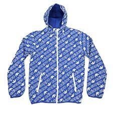 Adidas All Over Print Logo Windbreaker Rain Jacket Blue Men's Size S Small