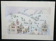 Snowy Town Original Christmas Greeting Card Painted Art by June Maxwell