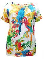 Tropical T-Shirt Plus Size 22/24 26/28 30/32 Cotton Summer Dimante Bird Top 222