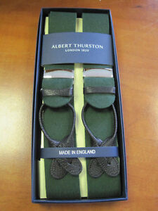 ALBERT THURSTON BOXCLOTH BRACES GREEN BROWN LEATHER ENDS