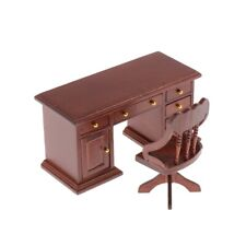 1/12 Dollhouse Miniature Office Furniture Wooden Desk and Chair Set Brown