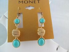 NWT MONET GOLD & TURQUOISE look Triple DANGLE EARRINGS, Pierced, Textured,Signed