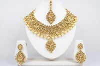 Bridal Gold Tone Necklace Earrings Set Ethnic Brass CZ Jewelry Indian Bollywood