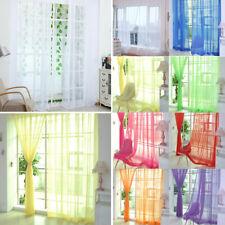 Home Plain Curtain Window Panels Screening Sheer Tulle Door Drapes Living Room